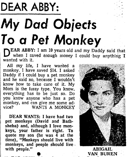 Dear Abby Pet Monkey